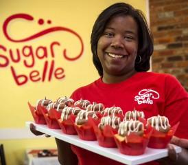 Peritoneal mesothelioma survivor Kasie Coleman in her Sugarbelle bakery
