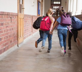 Student in a school hallway