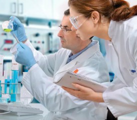 Scientists researching clinical trials