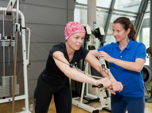 Cancer Patient Performing Low Impact Exercises