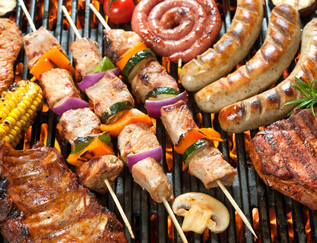 Grill with meat, chicken and other protein