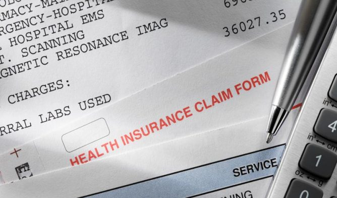 Medical bills and insurance forms