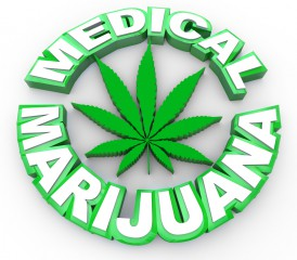 Illustration showing phrase medical marijuana with a pot leaf
