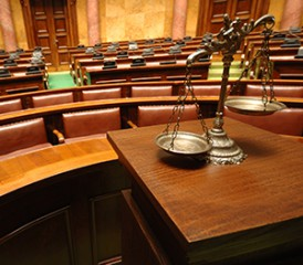 Courtroom with scales in foreground