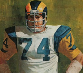 Painting of Los Angeles Rams Merlin Olsen