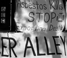 Posters showing Asbestos Kills message
