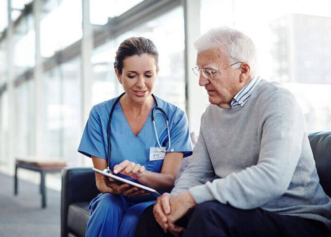 Hospice nurse and mesothelioma patient