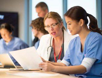 Female nurse with a female doctor