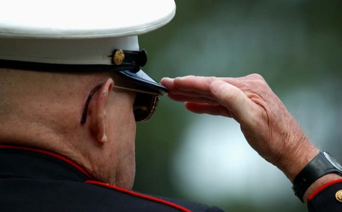 Retired Marine Saluting