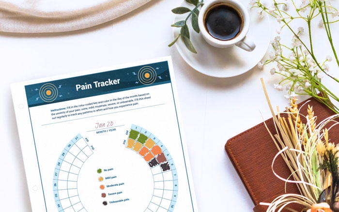 Pain tracker for cancer patients on a table
