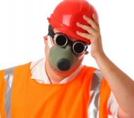 Man wearing safety vest and respirator