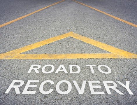 Road to recovery street sign