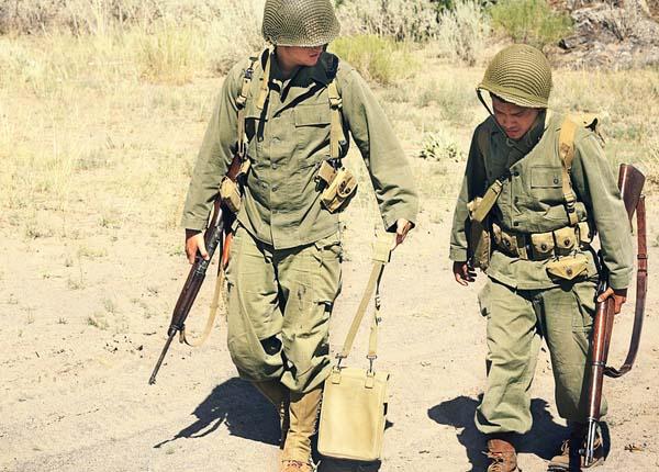 Two Vietnam War soldiers walking together