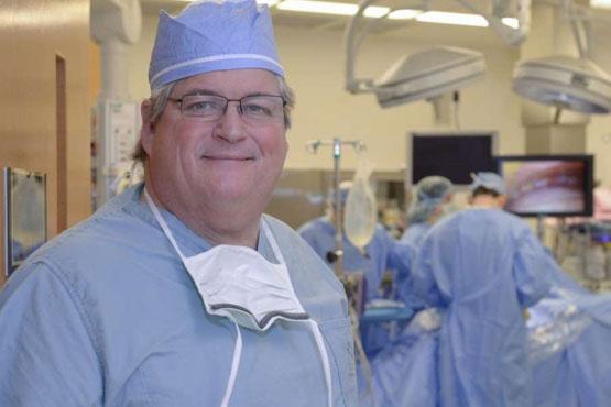 Mesothelioma expert Dr. David Sugarbaker in scrubs