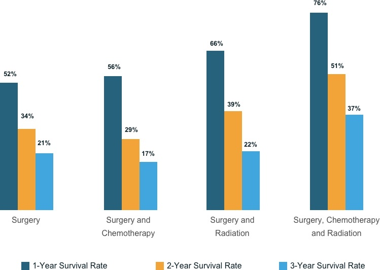 Graph of 1-Year, 2-Year, and 3-Year mesothelioma survival rates with surgery, chemotherapy and radiation.