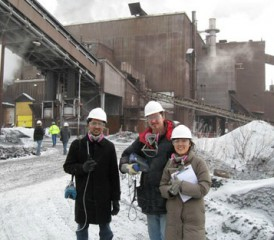 University of Minnesota researchers outside taconite mine