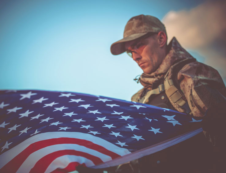 Army Veteran with USA Flag