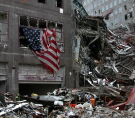 Debris with American flag at World Trade Center after 9/11