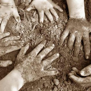 Young hands in dirt