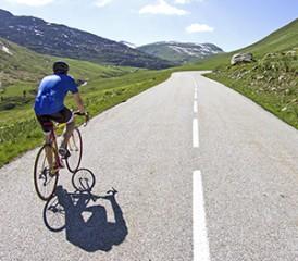 Jamie Menzies rides his bike in England